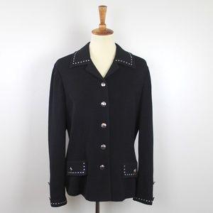 St. John Collection Black Knit Suit Jacket 10